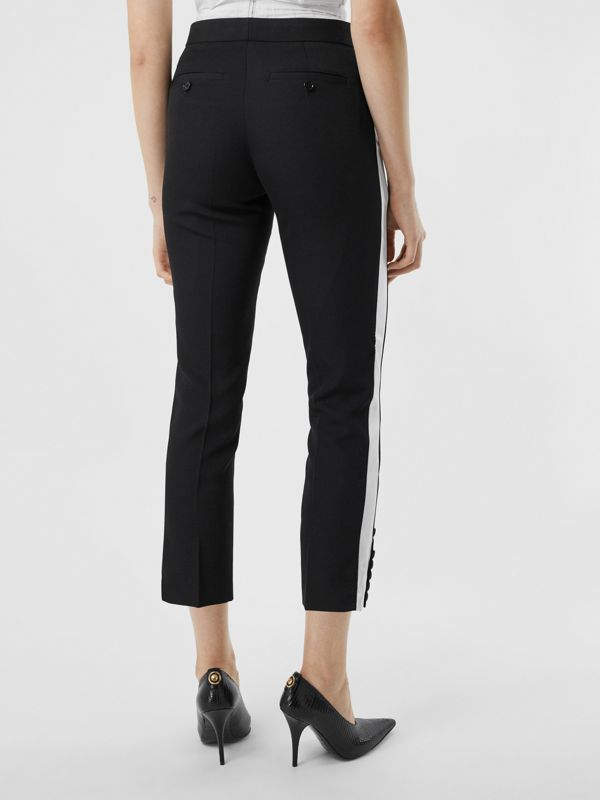 Side Stripe Wool Tailored Trousers in Black - Women | Burberry Singapore - cell image 2