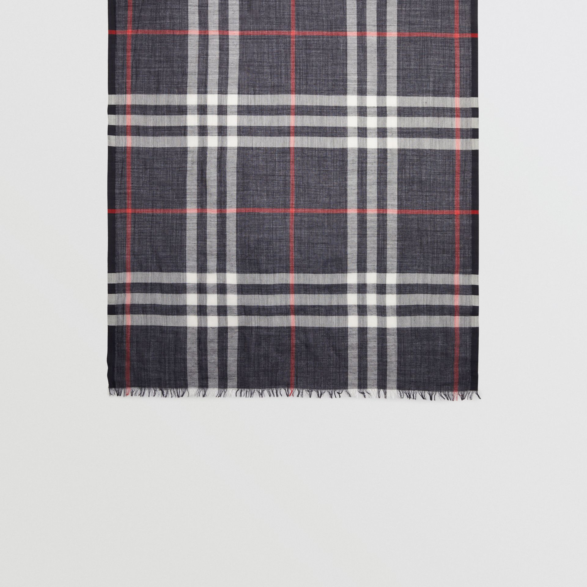 Lightweight Check Wool and Silk Scarf in Navy | Burberry Australia - gallery image 4