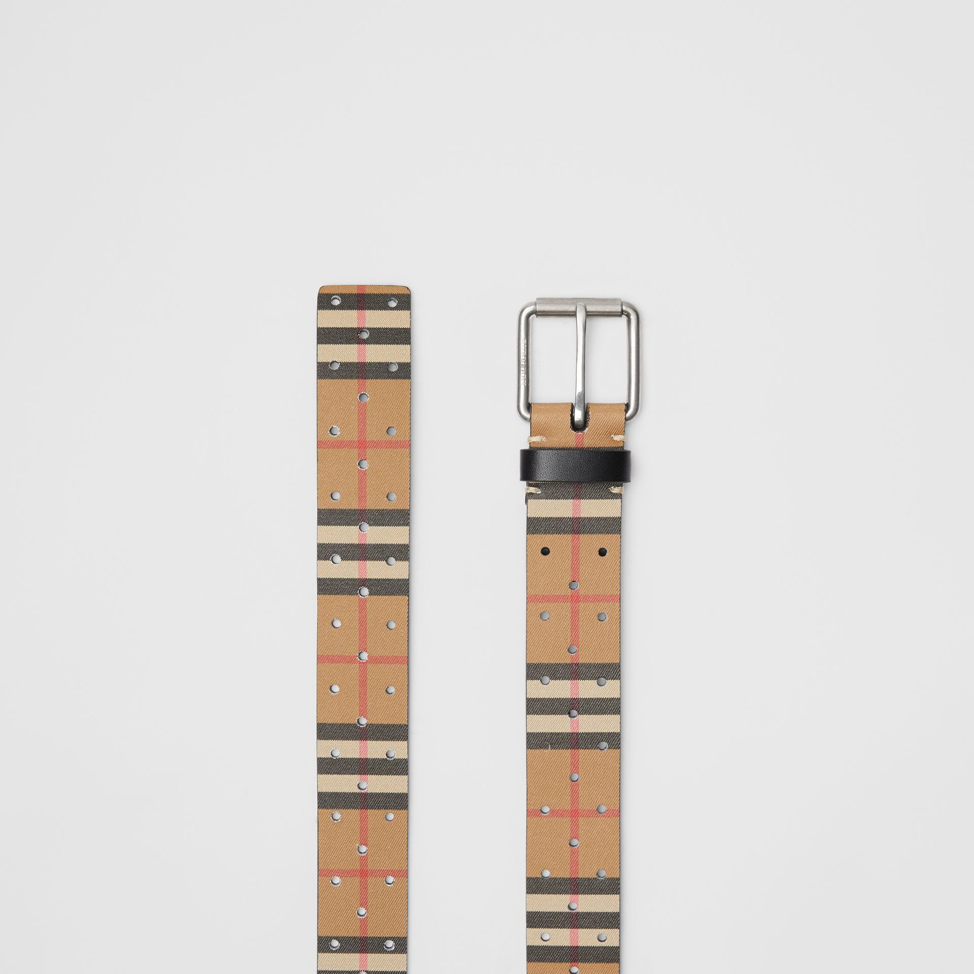 Perforated VIntage Check Leather Belt in Antique Yellow - Men | Burberry United Kingdom - gallery image 5