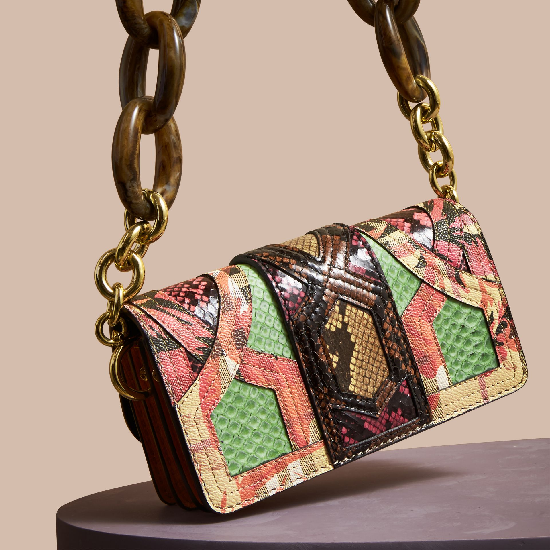 Pale green The Small Buckle Bag in Snakeskin and Floral Print - gallery image 4