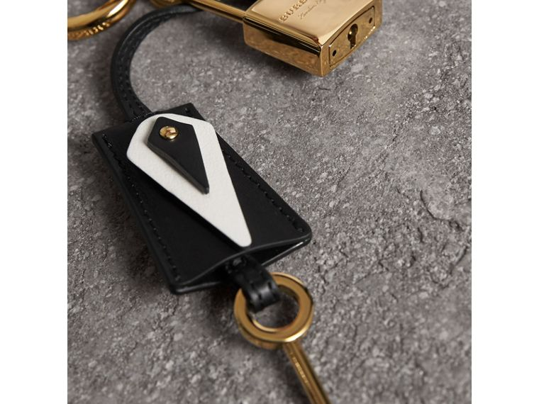 Pallas Helmet Motif Leather Key Charm with Padlock in Black/white - Women | Burberry United Kingdom - cell image 1