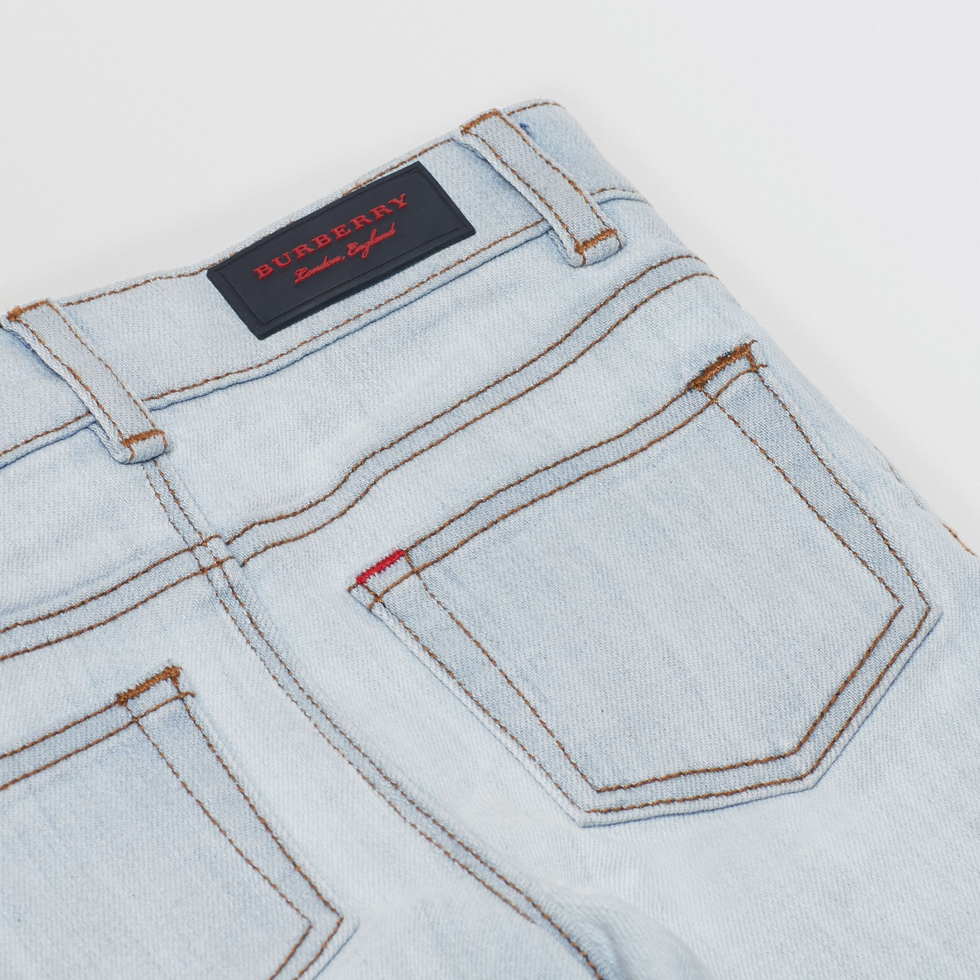 Skinny Fit Stretch Denim Jeans in Light Blue - Children | Burberry United States - gallery image 1