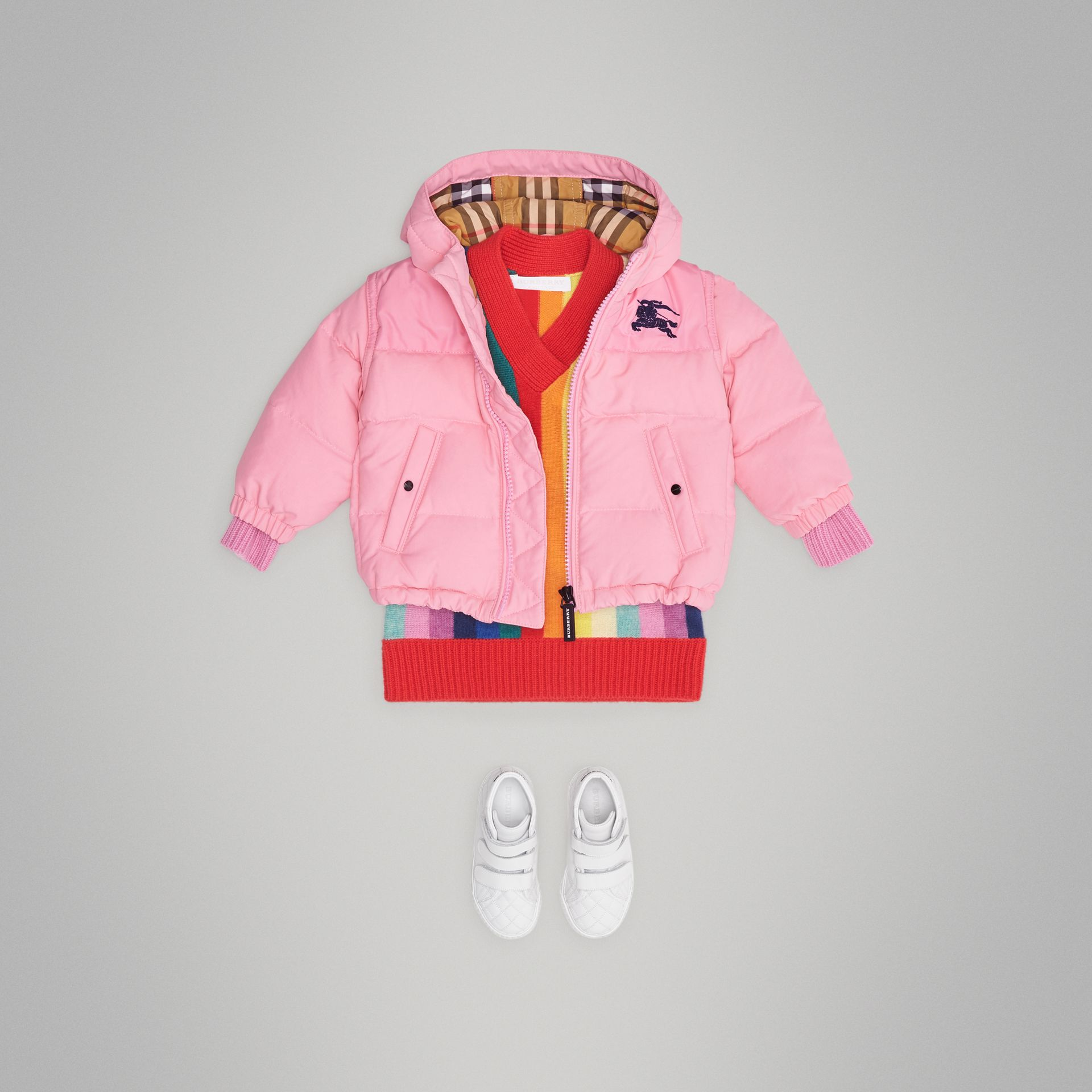 Down-filled Hooded Puffer Jacket in Ice Pink - Children | Burberry United States - gallery image 2