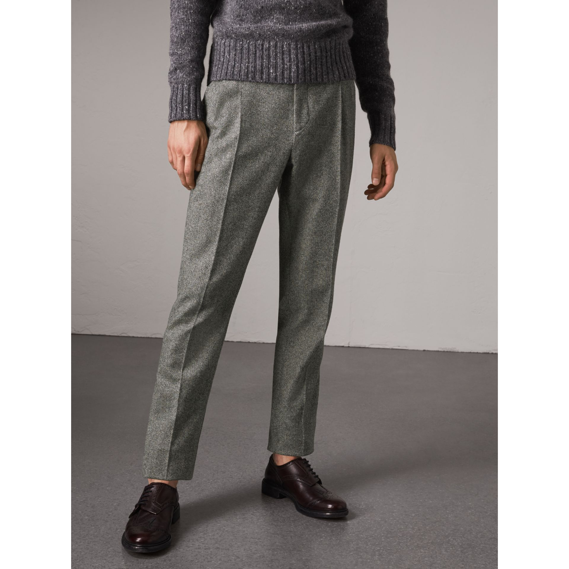 Soho Fit Herringbone Wool Trousers in Black/white - Men | Burberry - gallery image 4
