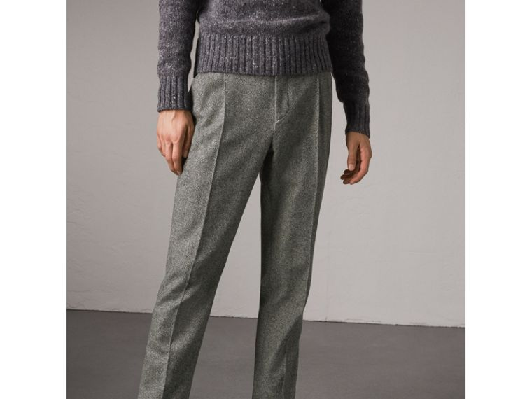 Soho Fit Herringbone Wool Trousers in Black/white - Men | Burberry - cell image 4