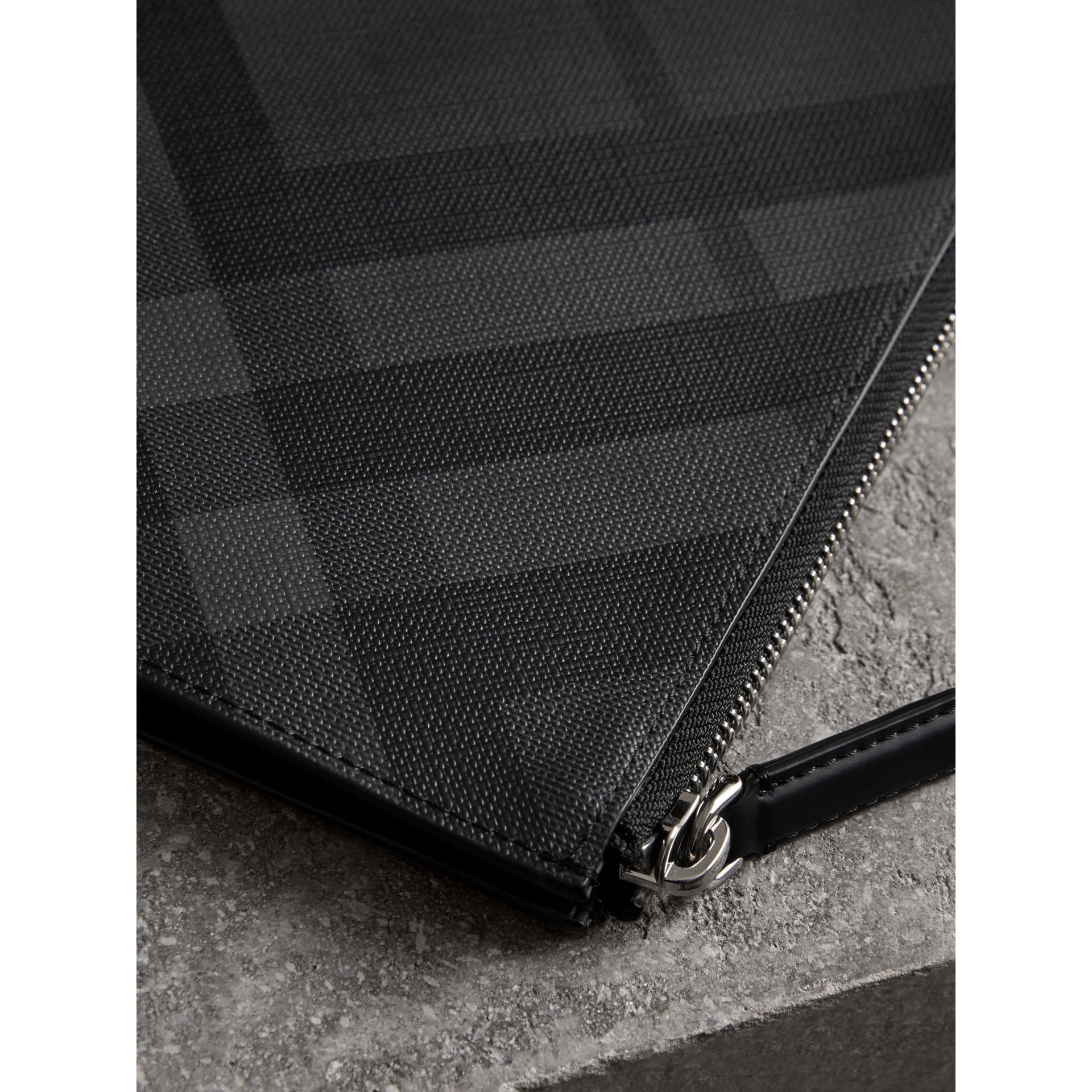 London Check Zip Pouch in Charcoal/black | Burberry Canada - gallery image 1