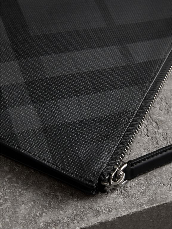 London Check Zip Pouch in Charcoal/black | Burberry Canada - cell image 1