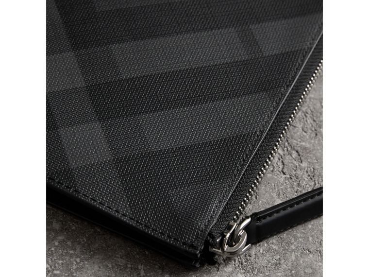 London Check Zip Pouch in Charcoal/black - Men | Burberry - cell image 1