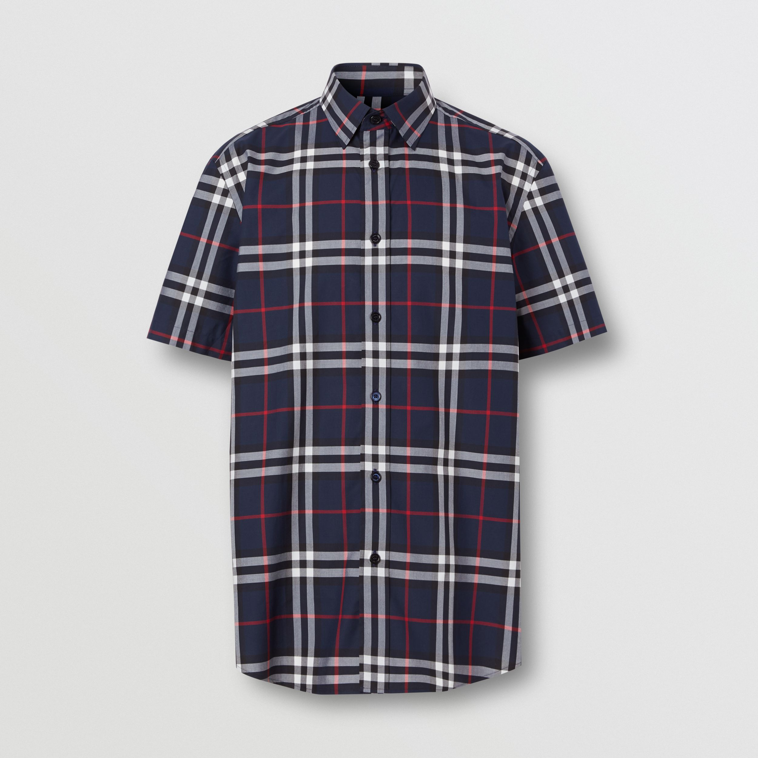 Short-sleeve Check Cotton Poplin Shirt in Navy - Men | Burberry - 4