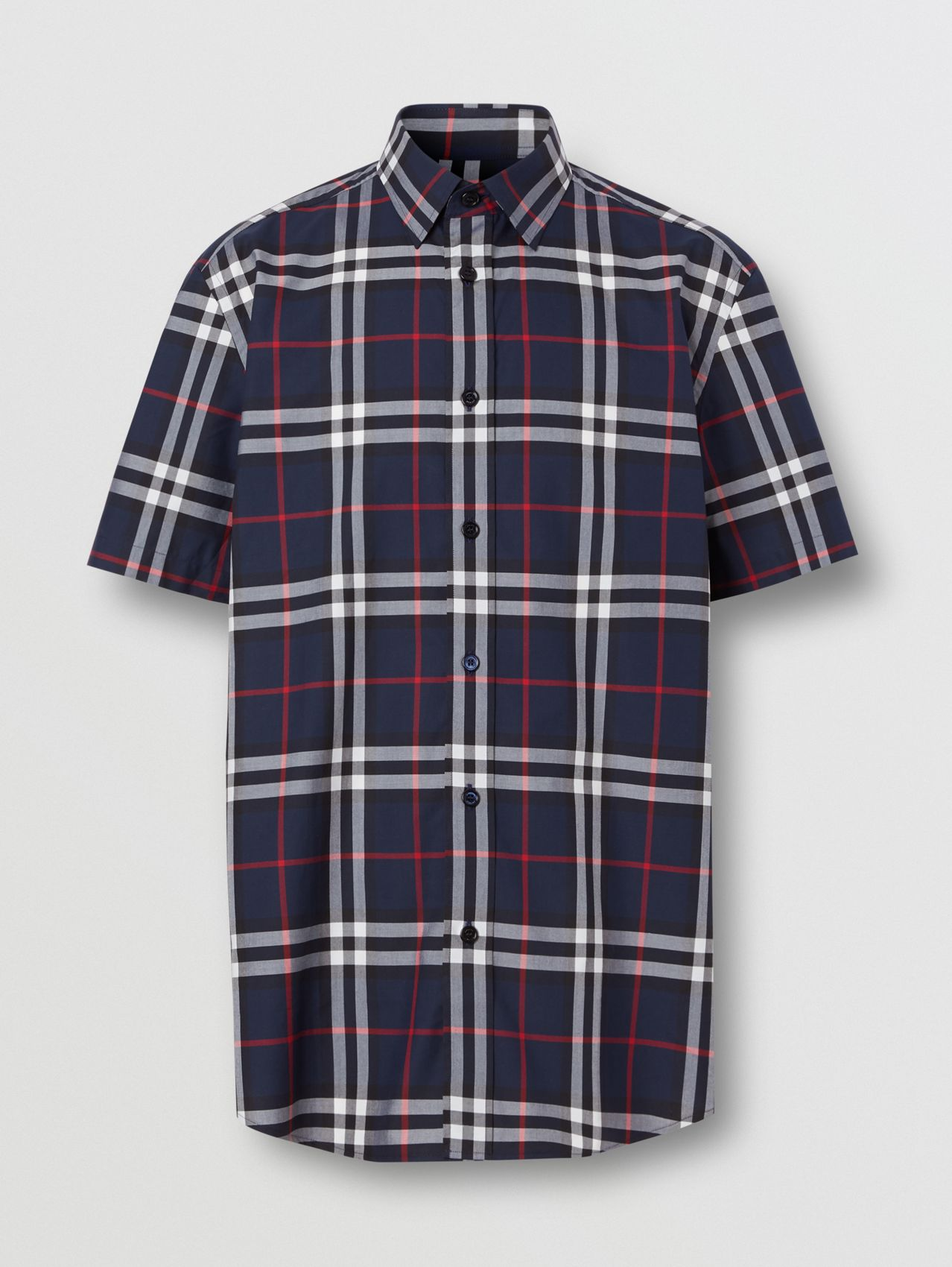 Short-sleeve Check Cotton Poplin Shirt in Navy