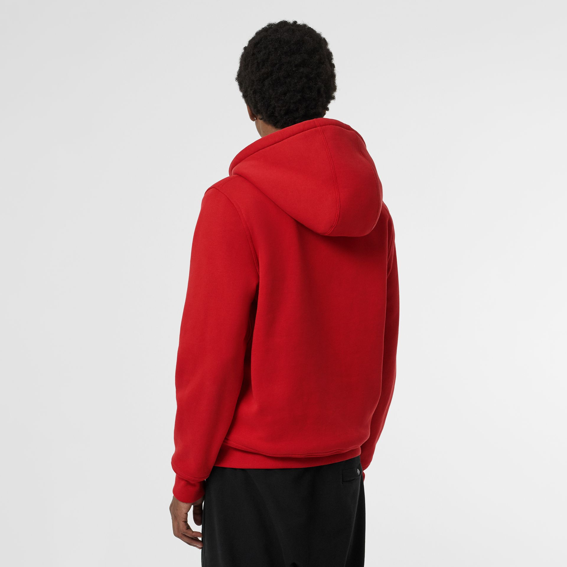 Check Detail Jersey Hooded Top in Military Red - Men | Burberry Canada - gallery image 2