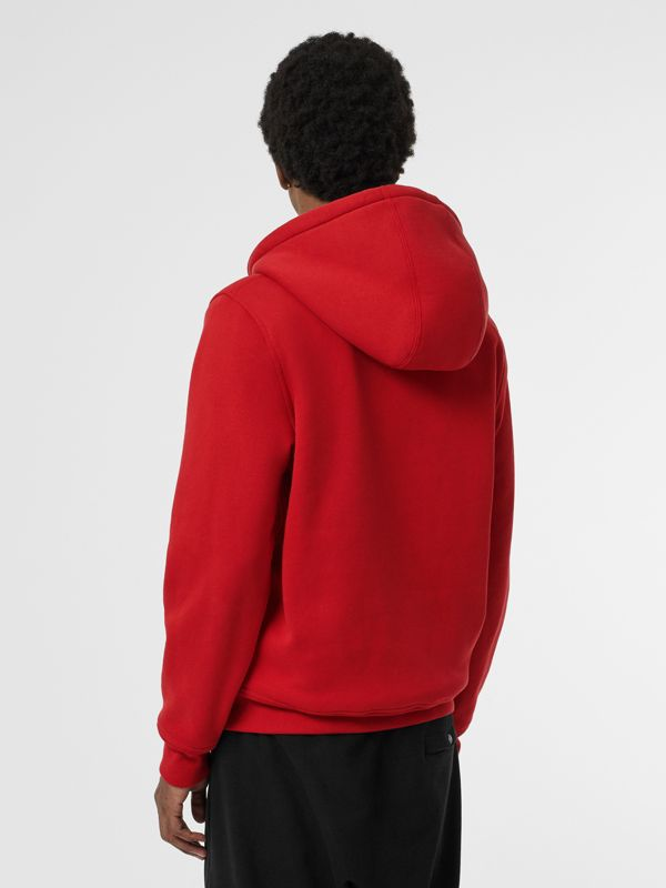 Check Detail Jersey Hooded Top in Military Red - Men | Burberry Canada - cell image 2