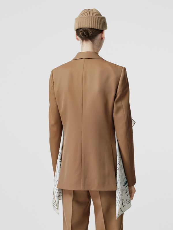 Mariner Print Scarf Detail Wool Blend Tailored Jacket in Camel - Women | Burberry - cell image 2