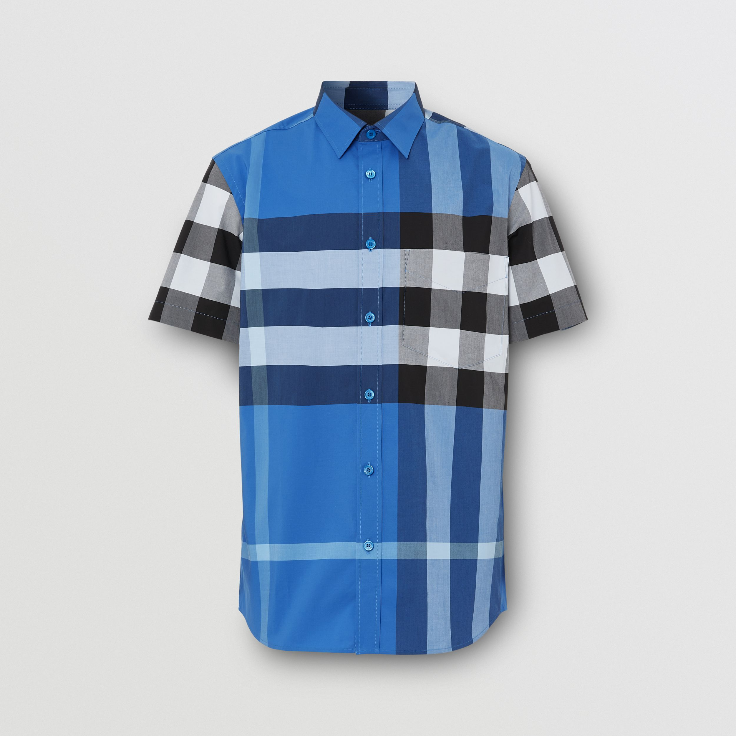 Short-sleeve Check Stretch Cotton Poplin Shirt in Dark Cerulean Blue - Men | Burberry Singapore - 4