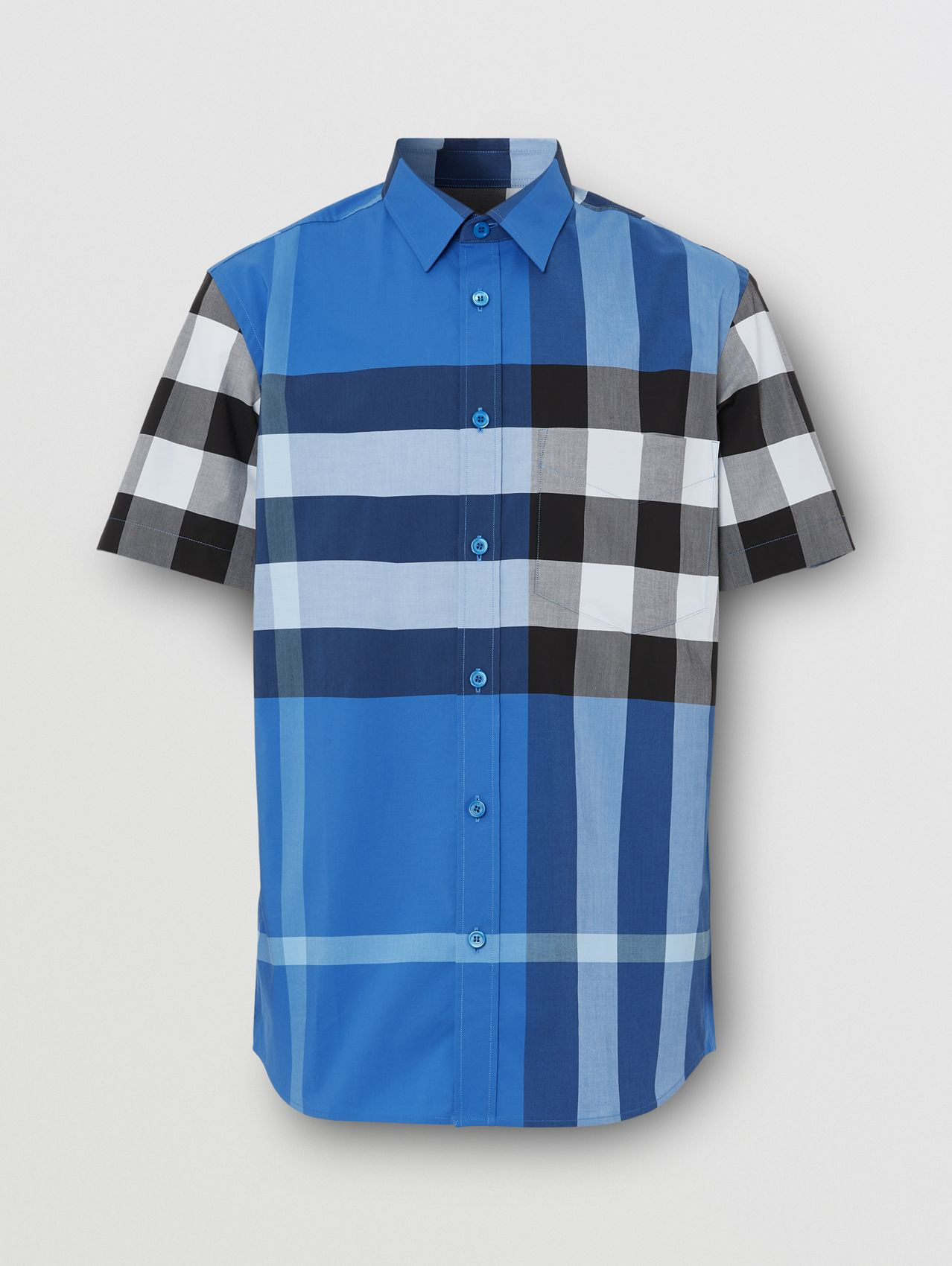 Short-sleeve Check Stretch Cotton Poplin Shirt in Dark Cerulean Blue