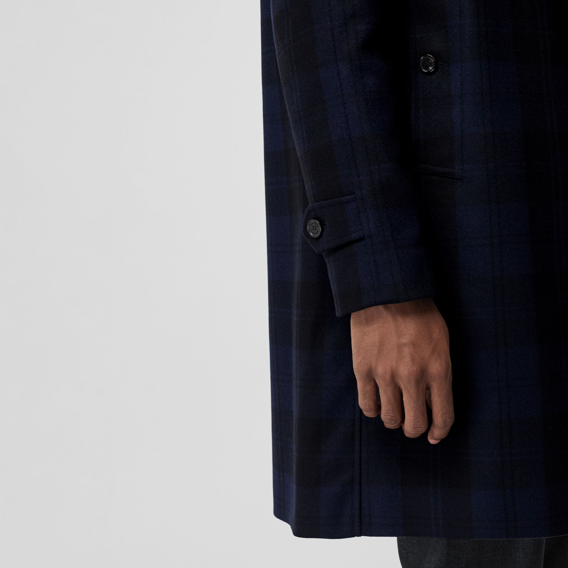 Check Cashmere Car Coat in Navy - Men | Burberry - gallery image 4