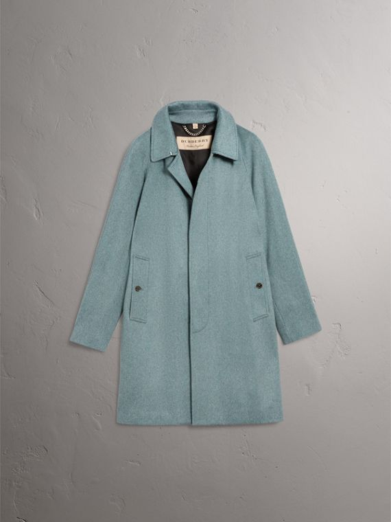 Cashmere Car Coat in Storm Green Melange - Men | Burberry Australia - cell image 3