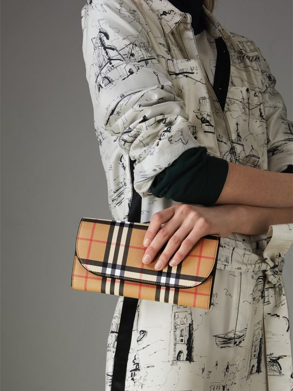 Vintage Check and Leather Wallet with Chain in Black - Women | Burberry Canada - cell image 3