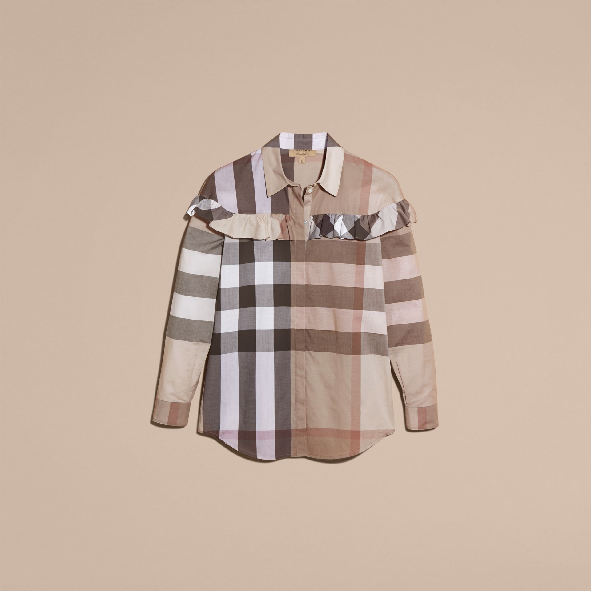 Pale stone Check Cotton Frill Detail Shirt Pale Stone - gallery image 4