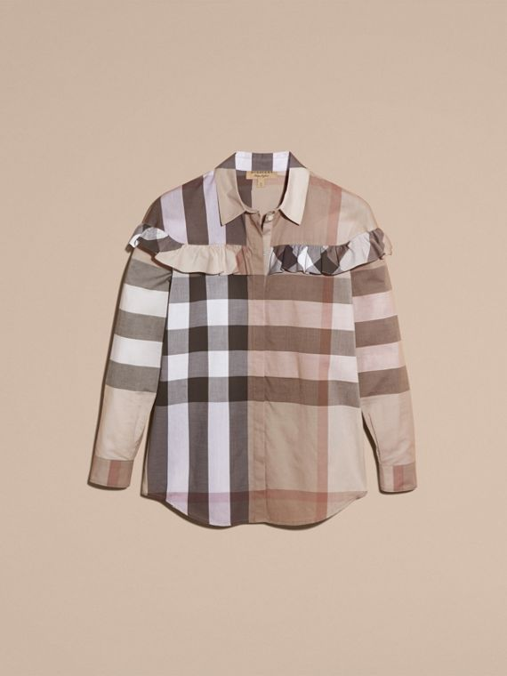Pale stone Check Cotton Frill Detail Shirt Pale Stone - cell image 3