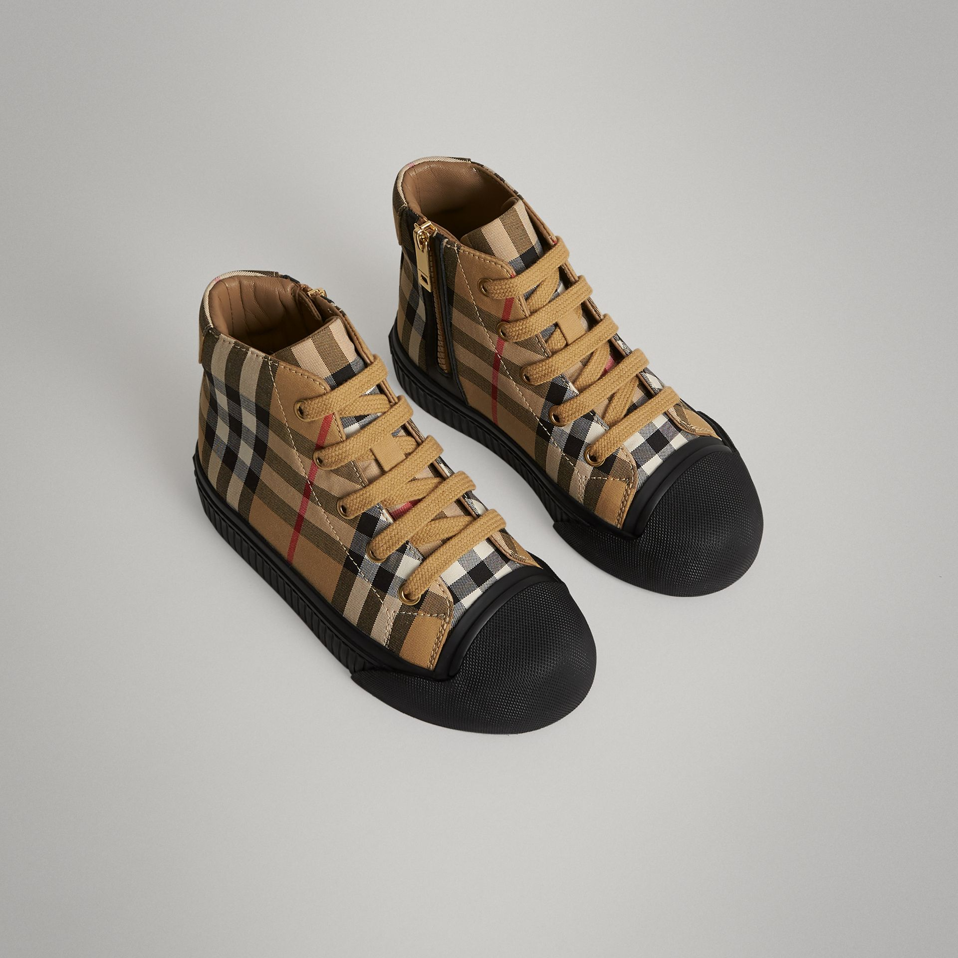Vintage Check and Leather High-top Sneakers in Antique Yellow/black | Burberry Singapore - gallery image 0