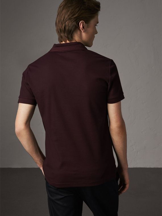 Embroidered Detail Cotton Piqué Polo Shirt in Blackcurrant - Men | Burberry - cell image 2