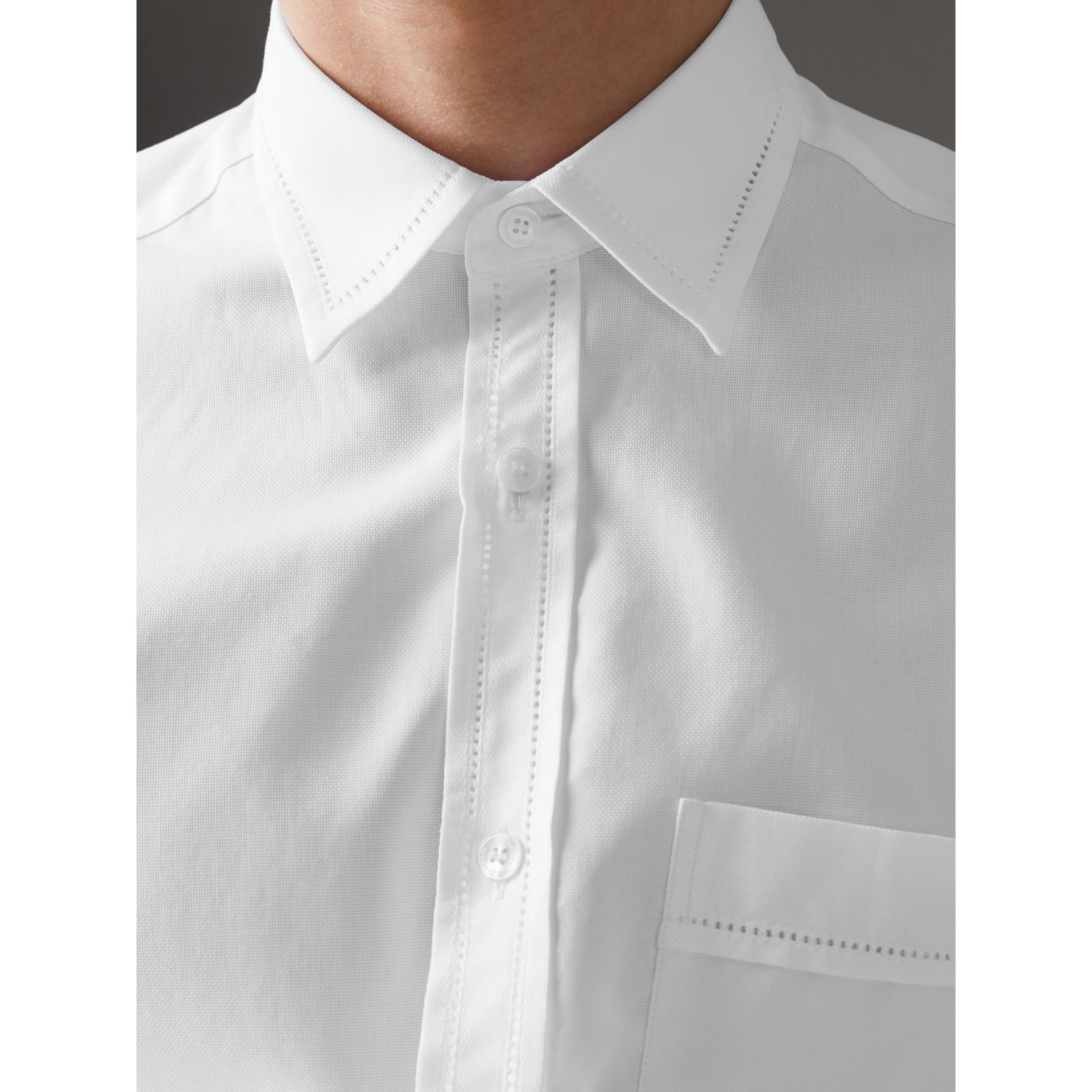 Open-stitch Detail Cotton Oxford Shirt in White - Men | Burberry - gallery image 1