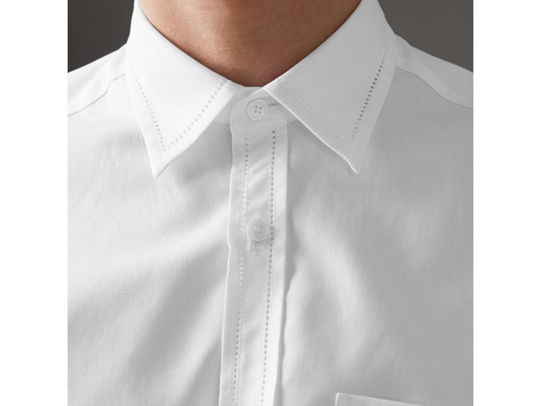 Open-stitch Detail Cotton Oxford Shirt in White - Men | Burberry - cell image 1