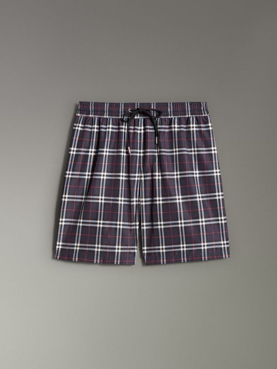 Vintage Check Drawcord Swim Shorts in Navy