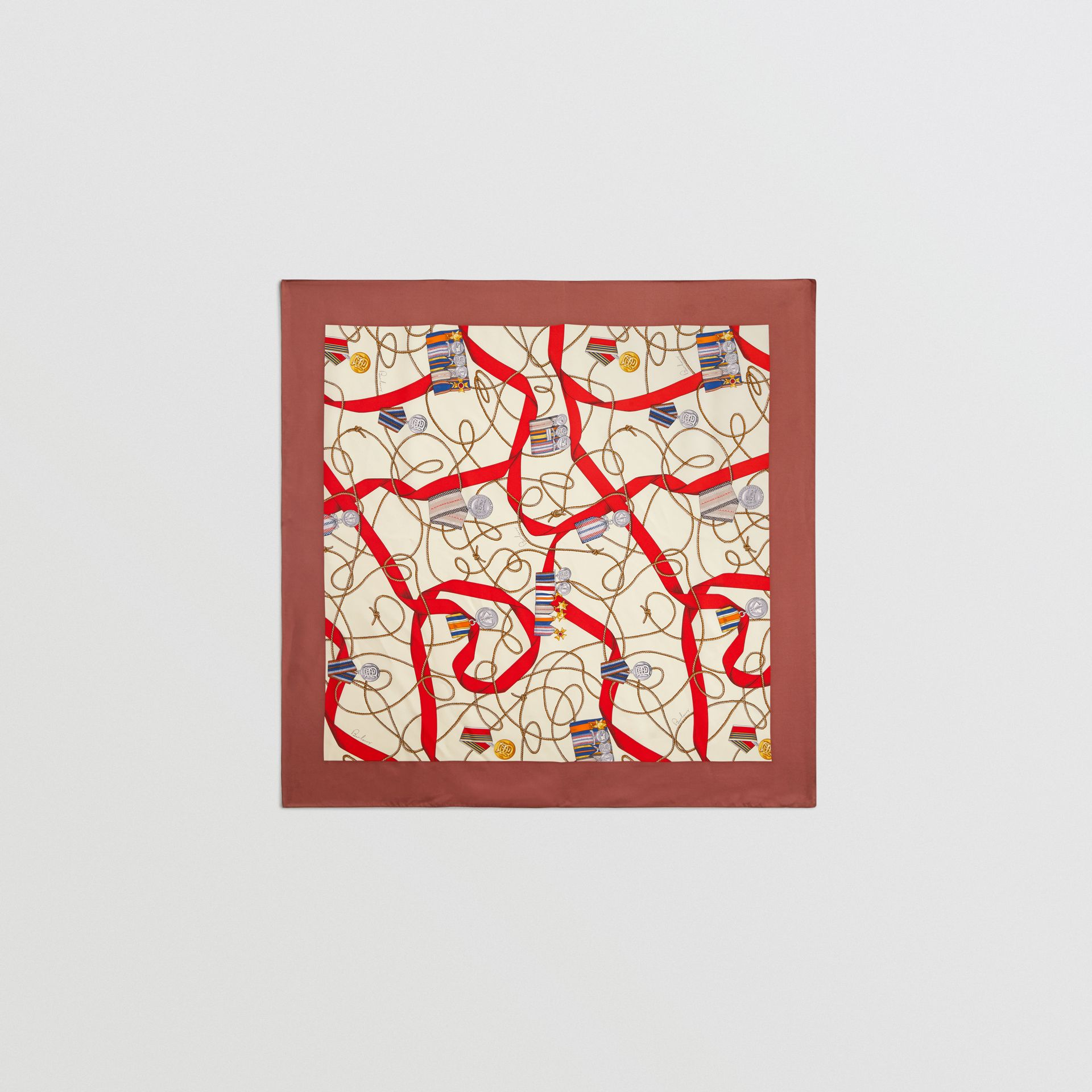 Archive Scarf Print Silk Square Scarf in Military Red - Women | Burberry - gallery image 0
