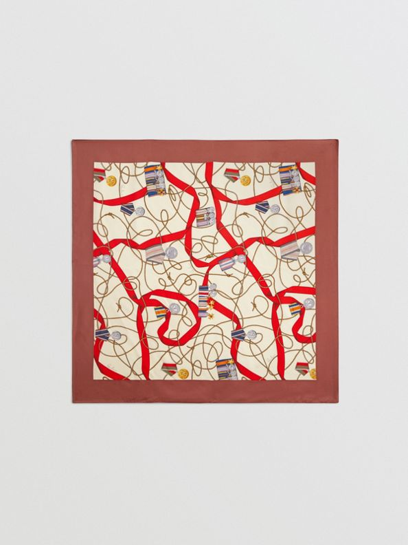Archive Scarf Print Silk Square Scarf in Military Red