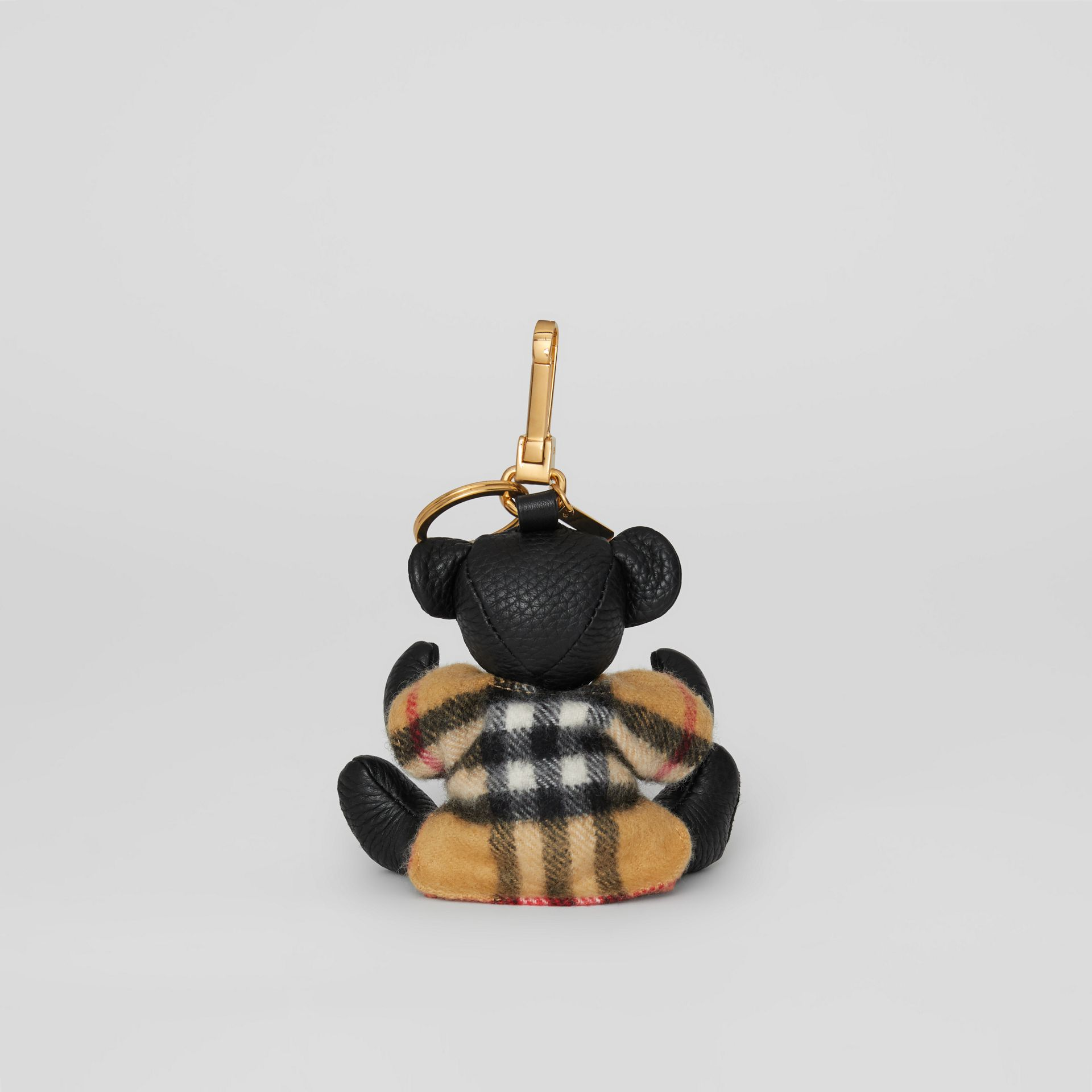 Thomas Bear Charm in Vintage Check Poncho in Black | Burberry - gallery image 3