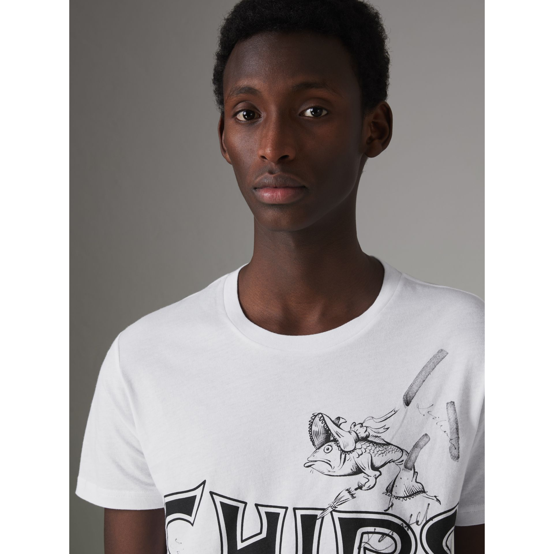 Fish and Chips Print Cotton T-shirt in White - Men | Burberry United States - gallery image 1