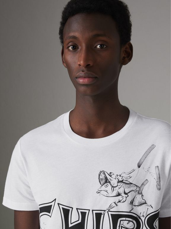 Fish and Chips Print Cotton T-shirt in White - Men | Burberry - cell image 1