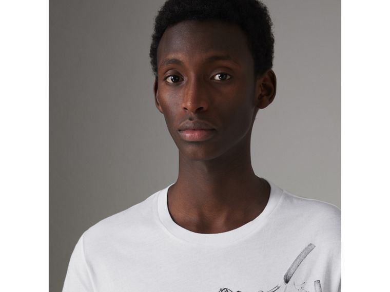 Fish and Chips Print Cotton T-shirt in White - Men | Burberry United States - cell image 1