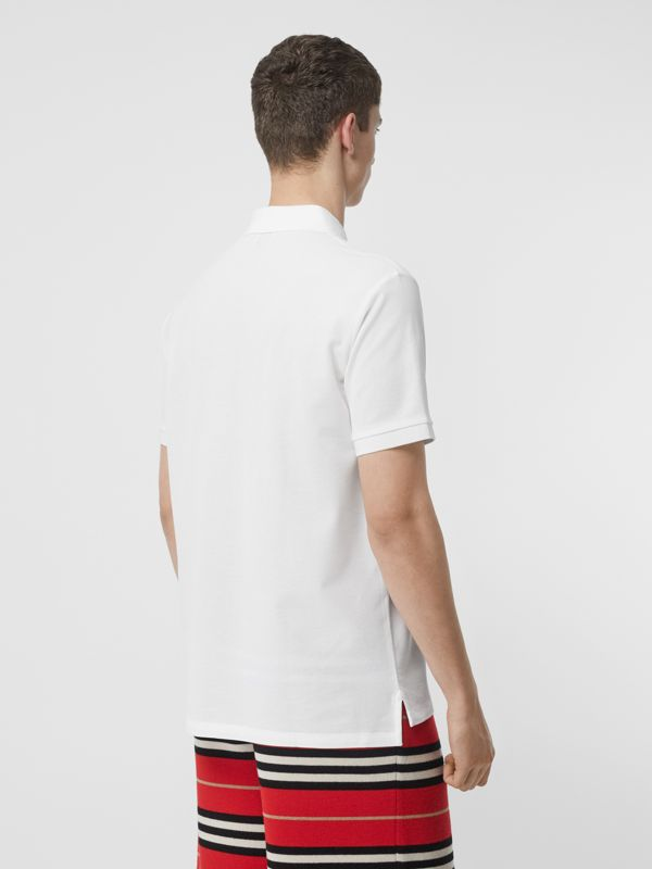 Monogram Motif Cotton Piqué Polo Shirt in White - Men | Burberry United States - cell image 2