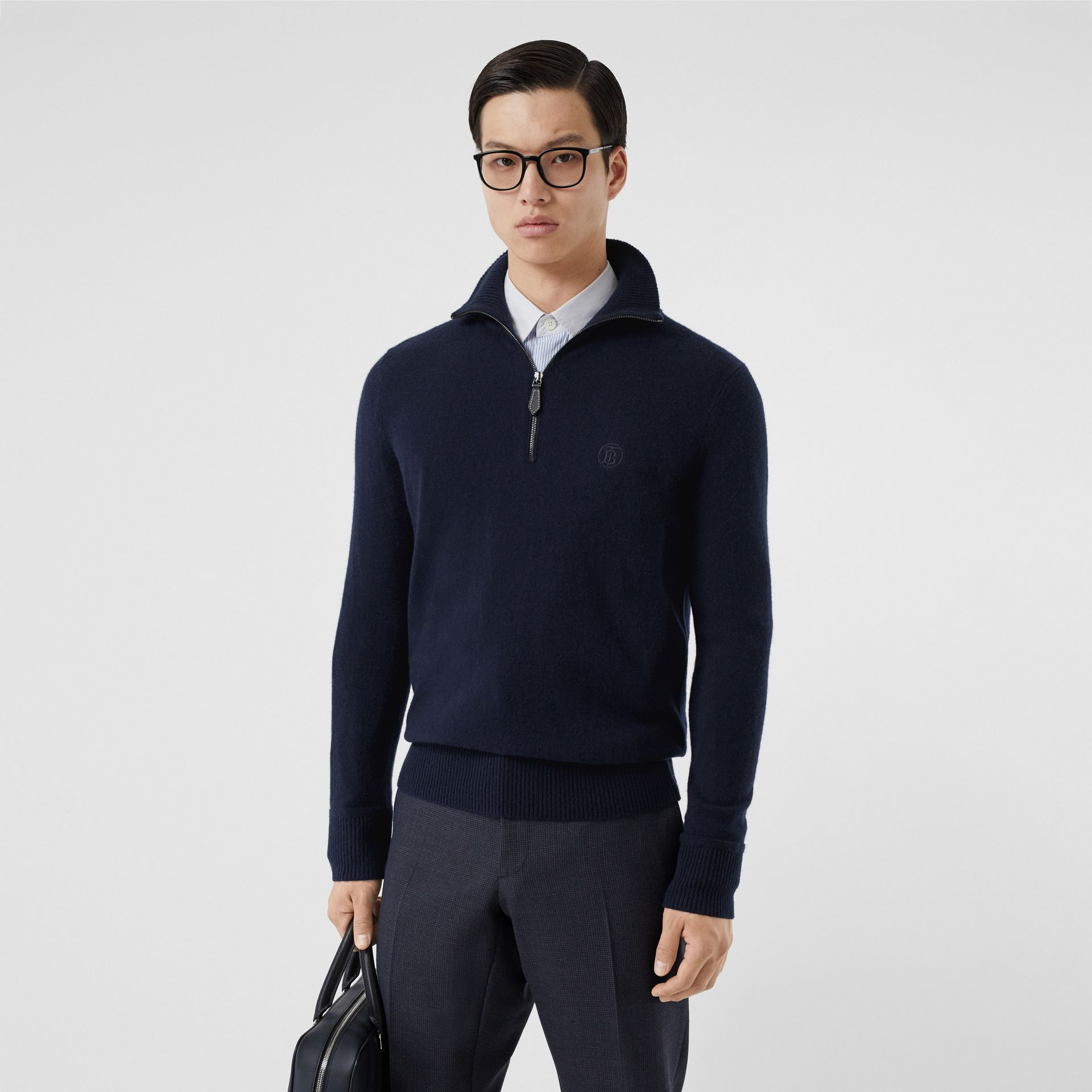 Monogram Motif Cashmere Funnel Neck Sweater in Navy - Men | Burberry Hong Kong S.A.R - gallery image 0