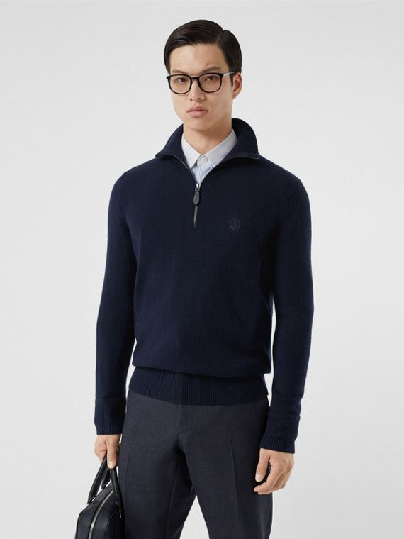Monogram Motif Cashmere Funnel Neck Sweater in Navy