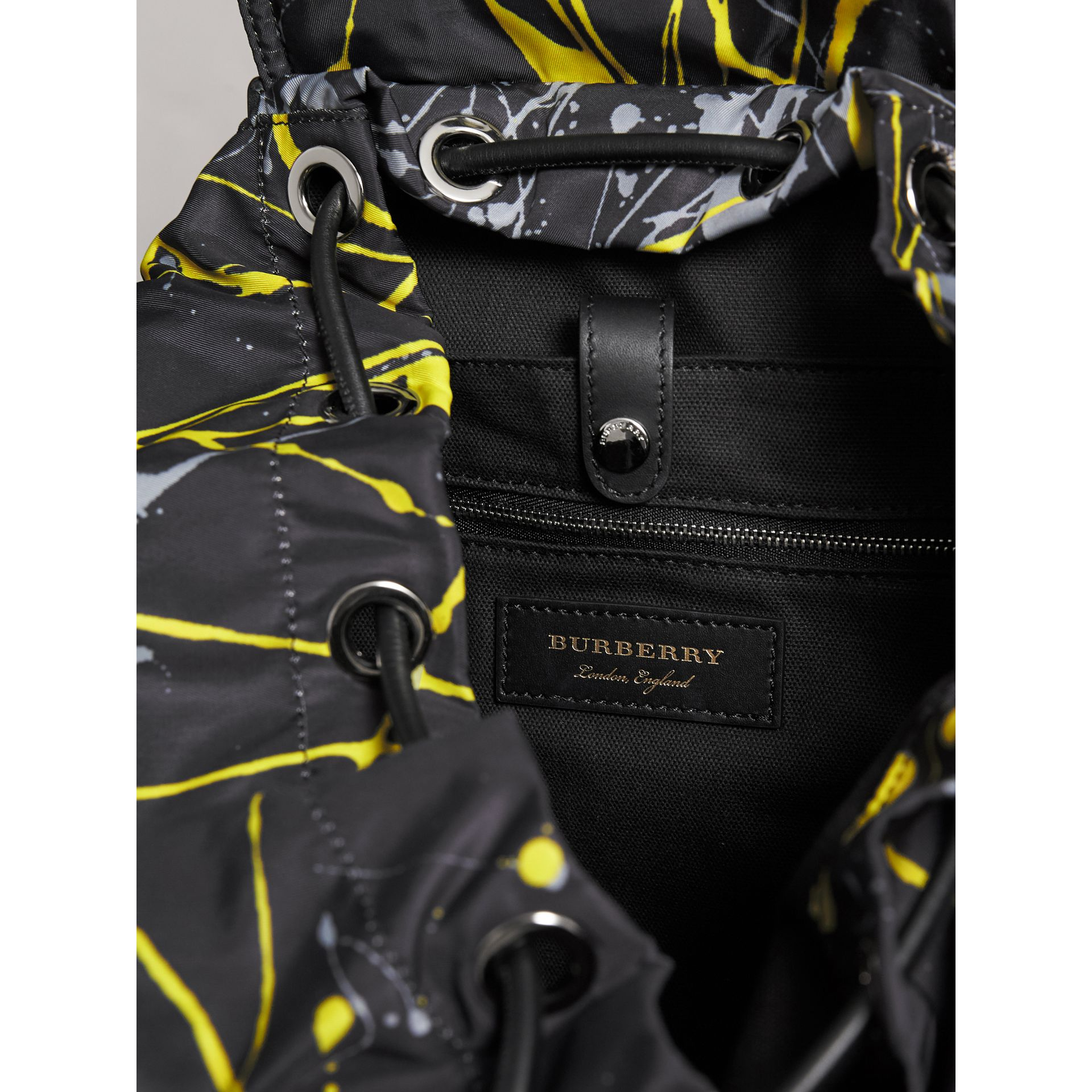 The Large Rucksack in Splash Print in Black/yellow | Burberry Australia - gallery image 4