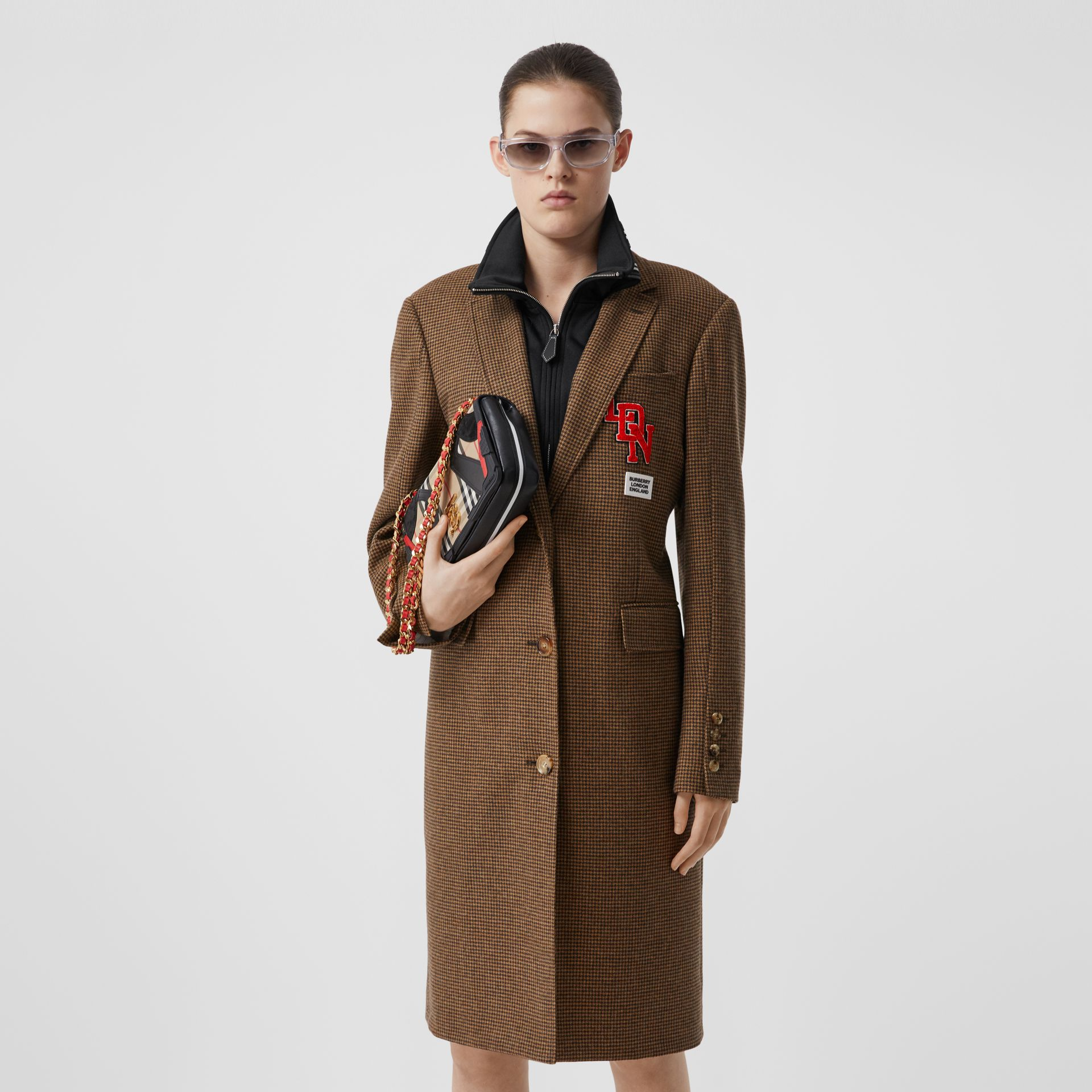 Track Top Detail Houndstooth Check Tailored Coat in Brown - Women | Burberry - gallery image 6