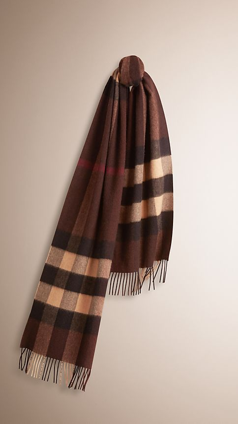 Dark chestnut brown check Giant Exploded Check Cashmere Scarf - Image 1