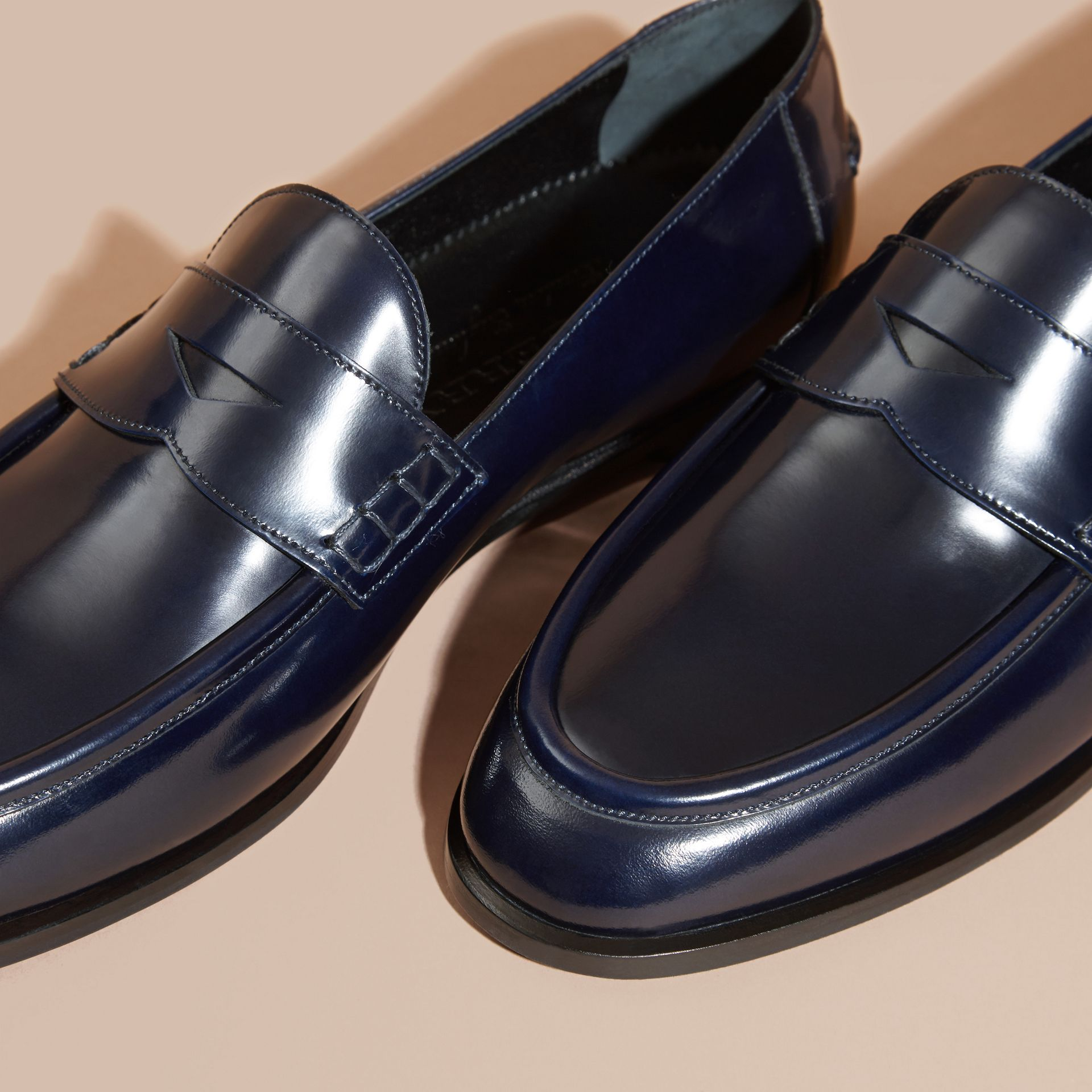 Ink blue Polished Leather Loafers Ink Blue - gallery image 2