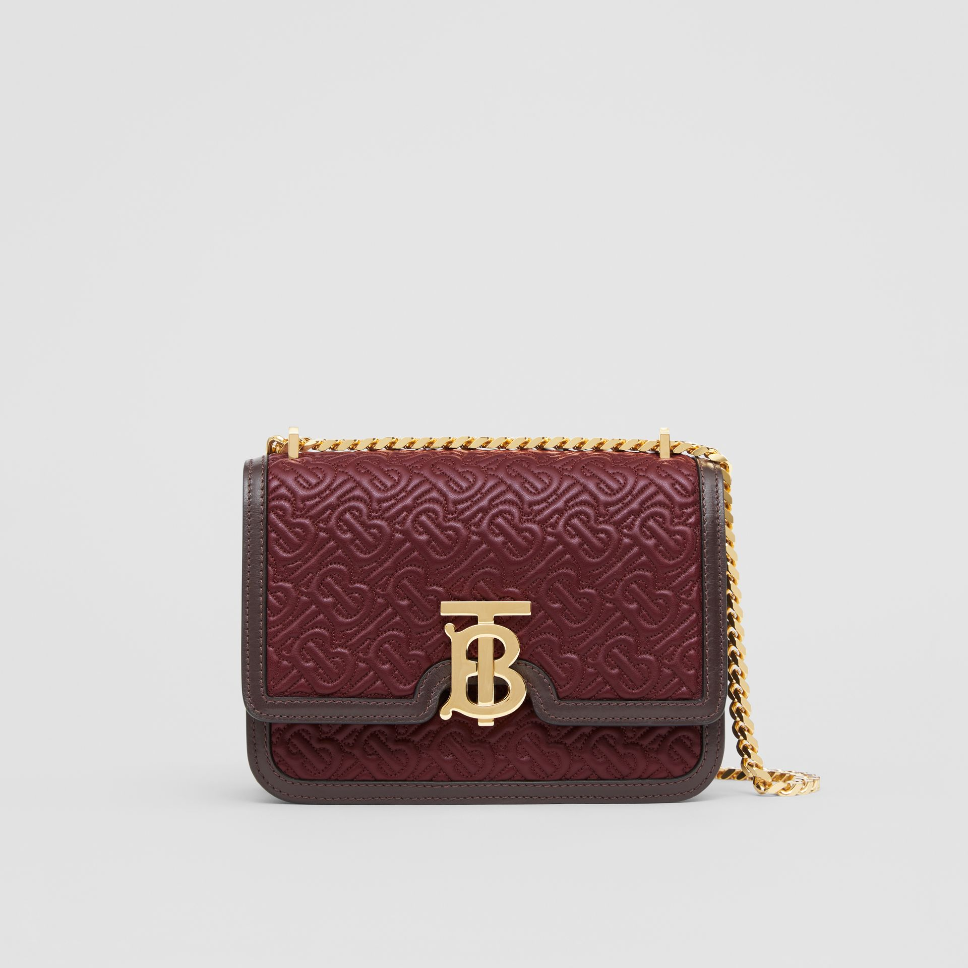 Small Quilted Monogram Lambskin TB Bag in Dark Burgundy - Women | Burberry - gallery image 0