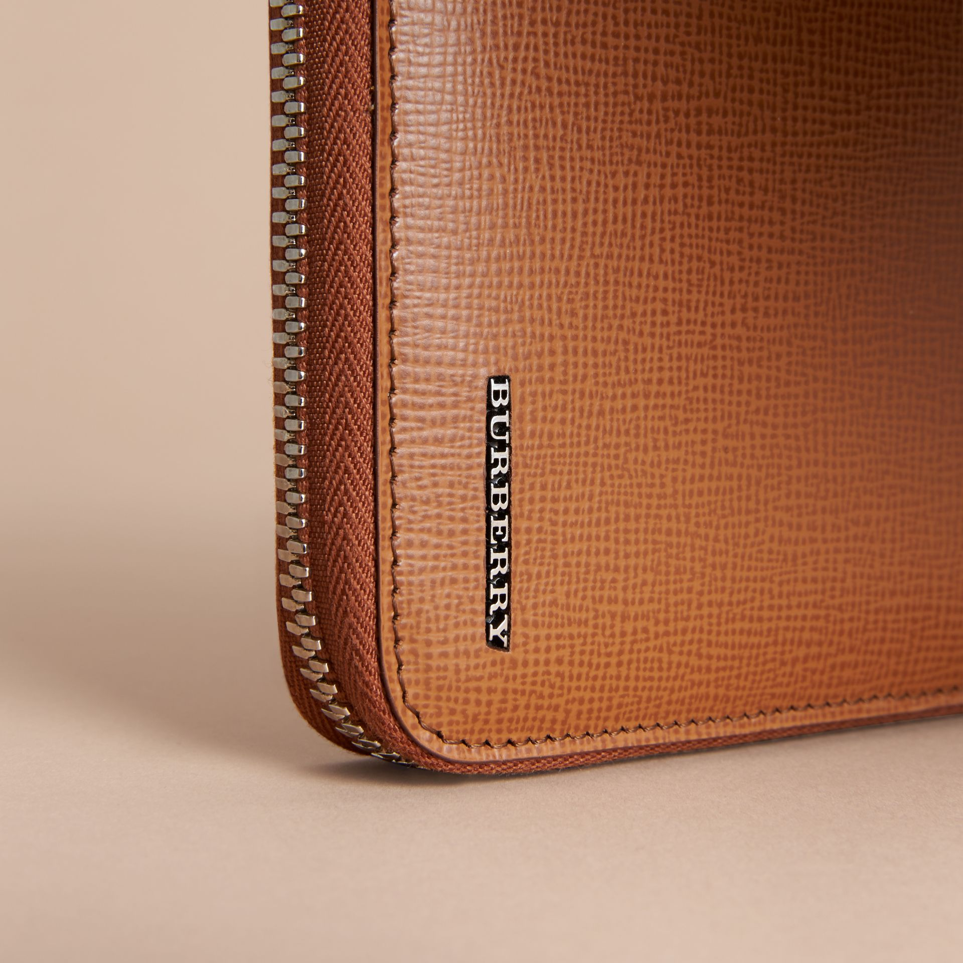 London Leather Ziparound Wallet in Tan | Burberry Australia - gallery image 5