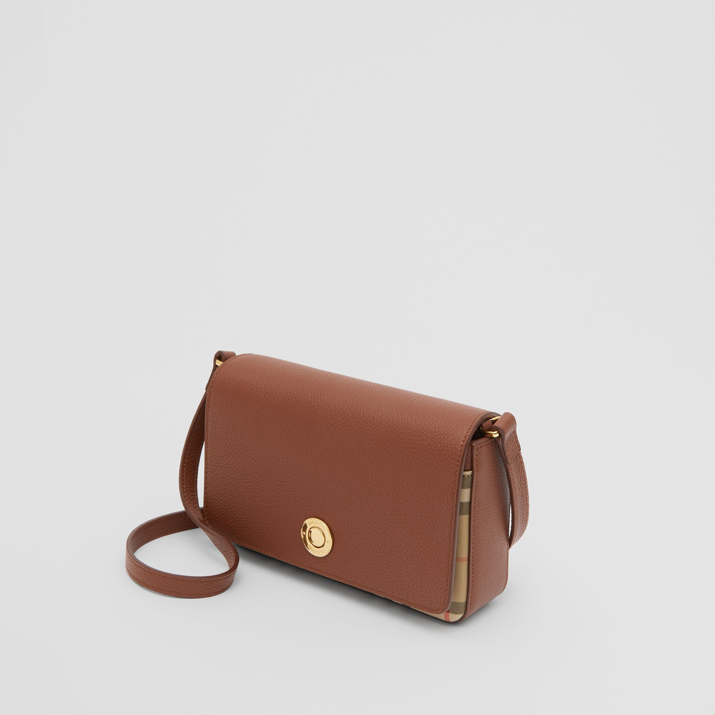 Small Leather and Vintage Check Crossbody Bag in Tan - Women | Burberry - 4