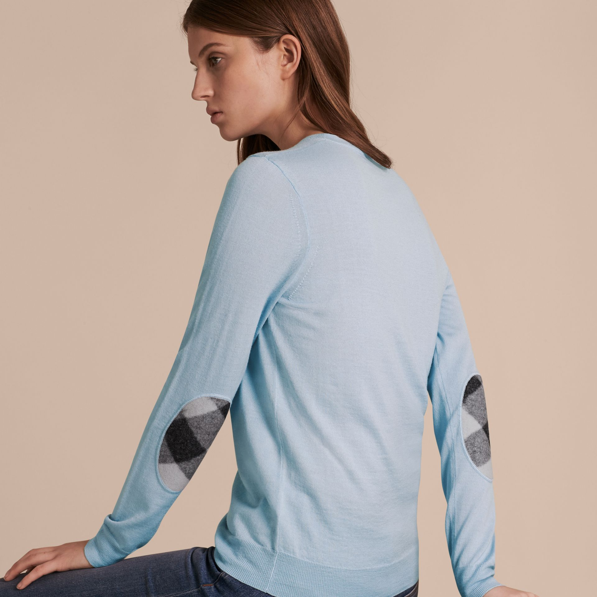 Pale cornflower blue Check Detail Merino Crew Neck Sweater Pale Cornflower Blue - gallery image 6