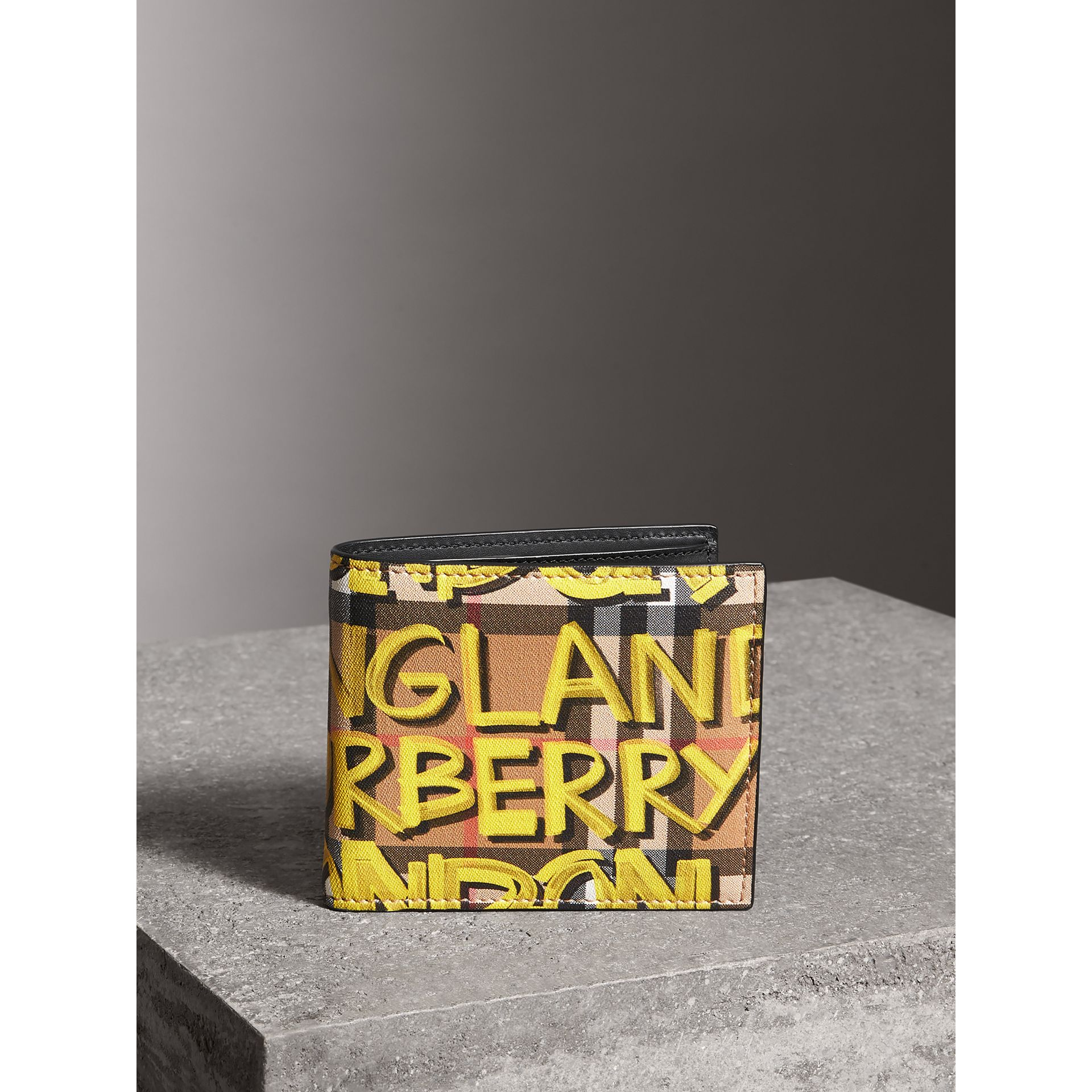 Graffiti Print Vintage Check International Bifold Wallet in Bright Yellow/antique Yellow - Men | Burberry Singapore - gallery image 4