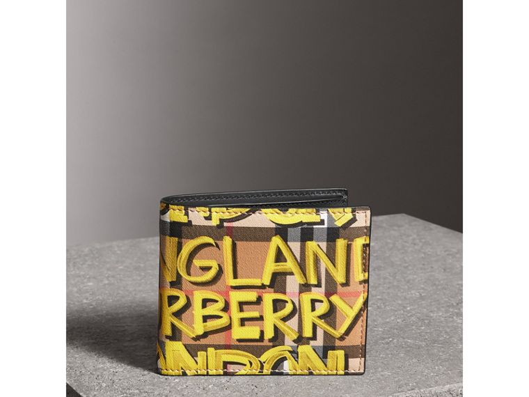 Graffiti Print Vintage Check International Bifold Wallet in Bright Yellow/antique Yellow - Men | Burberry - cell image 4