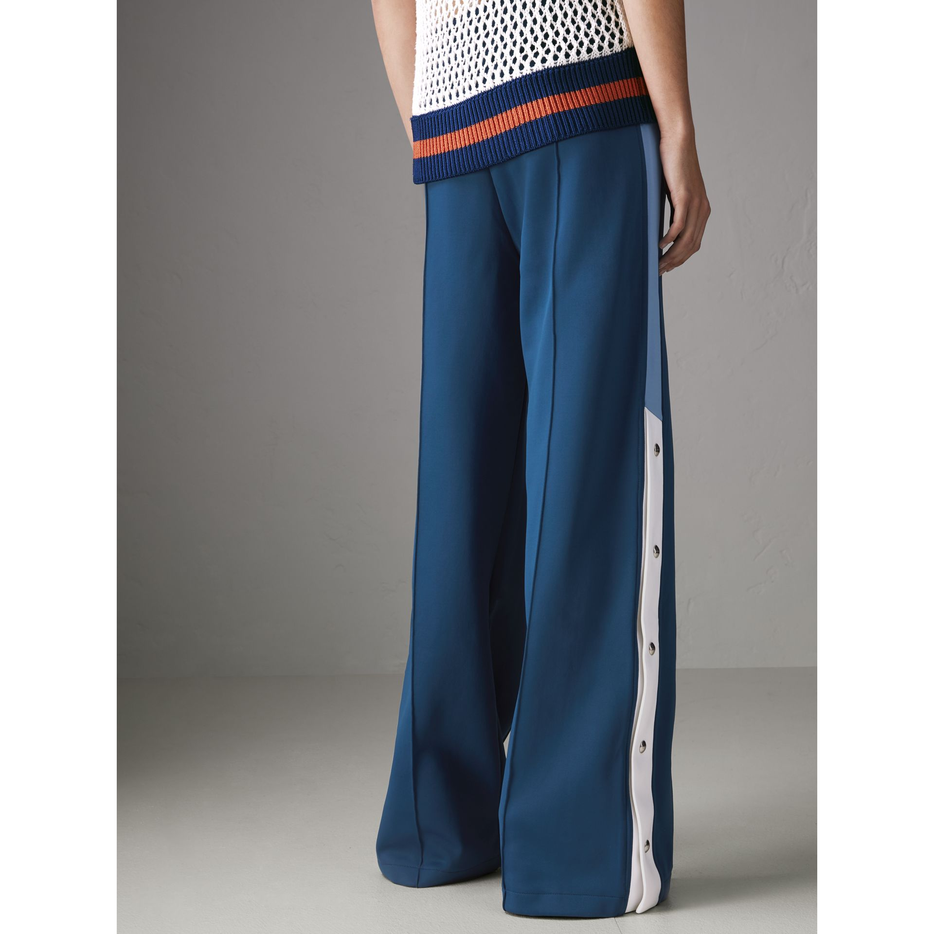 Panelled Wide-leg Drawcord Trousers in Hydrangea Blue - Women | Burberry - gallery image 2