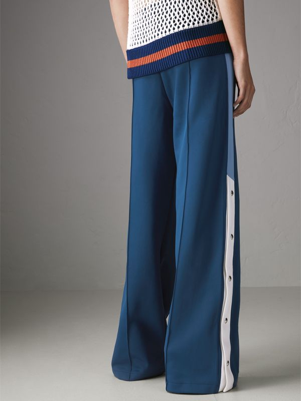 Panelled Wide-leg Drawcord Trousers in Hydrangea Blue - Women | Burberry Australia - cell image 2